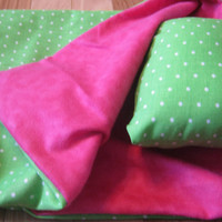 American Girl Sleeping Bag, pink and green doll bedding for 18 inch doll