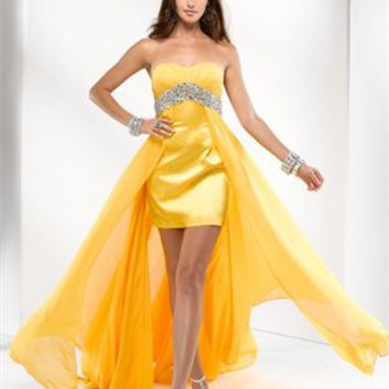 Strapless beading sweep train yellow hunter prom dresses 2012 PDM4027