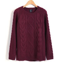 Retro Cable and Diamond Knit Sweater in Claret-red
