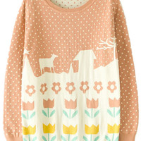 ROMWE | Khaki Long Sleeve Polka Dot Flower Pattern Jumper, The Latest Street Fashion