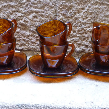 Retro French VERECO amber glass set of 6 cups and saucers, from the 60's