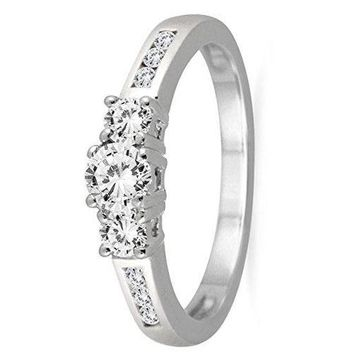 1/2 Carat TW Diamond Three Stone Ring in 10K White Gold (AGS Certified)