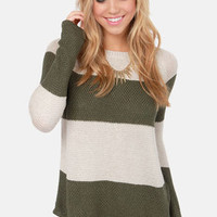 Olive & Oak Set of Stripes Olive Green Striped Sweater