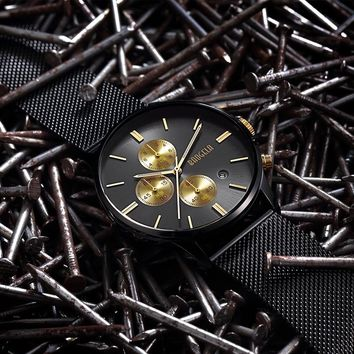 Stainless Steel Mesh Band Slim Men Watches