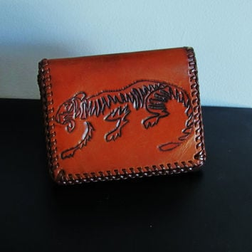 vintage hand tooled leather wallet with tiger and marked Jerry. distressed mexican leather wallet. gift for men
