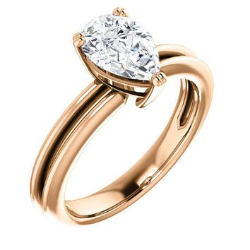 1.25 Ct Pear Solitaire Diamond Engagement Ring 14k Rose Gold