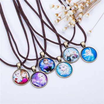 ac NOOW2 Cute Cartoon character Jewelry Glass Cabochon  Brown Leather Chain Necklace Pendants Fashion Collares Women Girl Children Gift