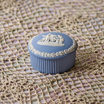 Wedgwood Jasperware Pegasus Pale Blue Round Trinket Box, 1965