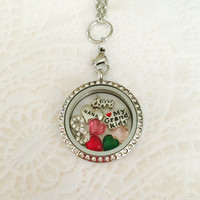 Large 30mm stainless steel silver Nana memory locket For Mom with choice of stainless steel chain