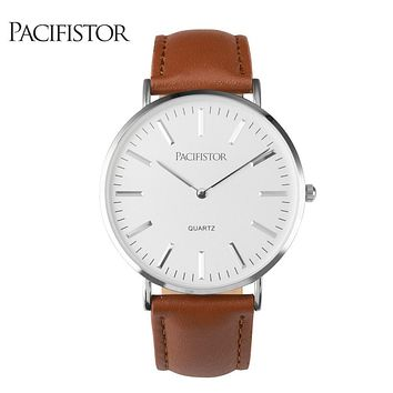 PACIFISTOR Mens Watches Top Brand Luxury Ultra Slim Lovers' Quartz Watch Men 2017 Business Leather Band Relogio Masculino