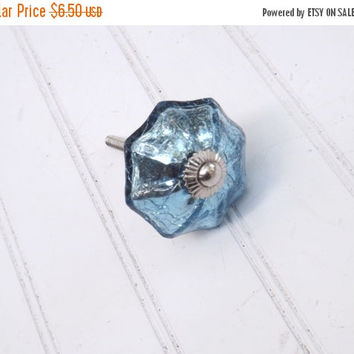 NEW YEARS SALE Blue Mercury Glass Knob // Decorative Knob // Dresser Knob // Drawer Knob