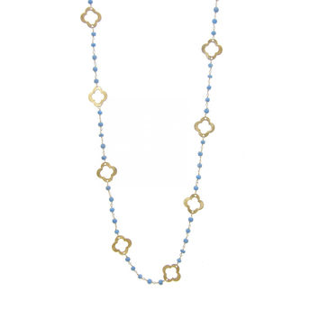 Turquoise Gold Clover Necklace with semi precious stones