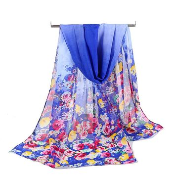 2017 Flower Printing  India Spring Chiffon Scarf Women Silk Scarf Fashion Lady Chiffon Silk Scarf Shawls Sunscreen Wrap Cape