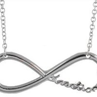 2 Pieces of Silver Infinity Pendant with an 18 Inch Link Chain One Directioner Necklace