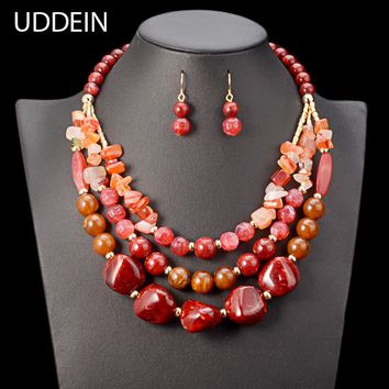Beads Necklace/Earrings Set Plastic Gem Multi Layer Statement Chokers