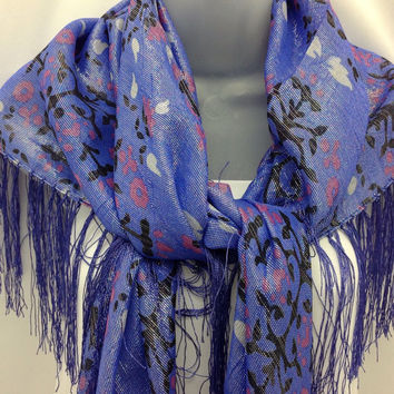 Blue Silk Shawl - Piano shawl -  Birthday Gift -  Abstract floral Scarf - Gift for mom, Holiday gift, Daughter in law Gift,  Sparkle sarong