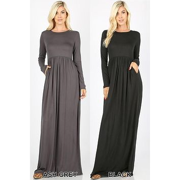 Long sleeve round neck maxi dress with pockets