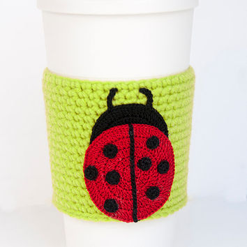 Ladybug Coffee Cozy, crocheted, red and black, spring green cozy, leaf green sleeve