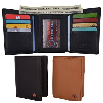 Slim Men's RFID Security Blocking Slim Trifold Credit Card ID Leather Wallet