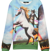 3D Unisex Sweatshirt With Riding A Unicorn's Cat Print