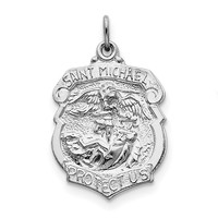 Sterling Silver Saint Michael Badge Medal QC5624