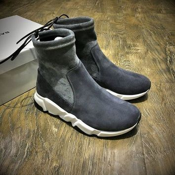 Balenciaga Speed High Scrub Ankle Boots Sport Shoes Grey White Color - Beauty Ticks