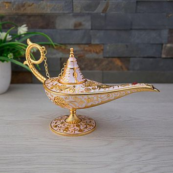 2 Sizes New Aladdin Lamp Retro Gift Home Decoration Vintage Classical Toy Metal Art Craft Antique Table Decor Figurines