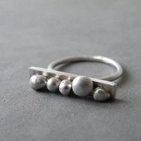 Abstract Bar Dotted Ring Sterling Silver Urban Ring Oxidized Silver Minimalist Ring by SteamyLab