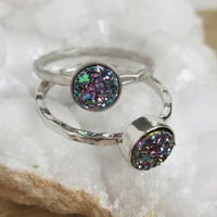 NEW Tiny Peacock Druzy Ring Titanium Drusy Quartz Sterling Silver Hammered Band