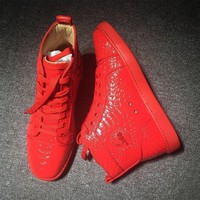 DCCK Cl Christian Louboutin Python Style #2251 Sneakers Fashion Shoes
