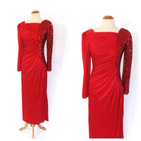 Vintage 1980s Ruby Red Sequin Bodycon Dress Vegas Coffin Draped Gown Party Cocktail Dress Ruched Mermaid Dress Tacky Bridesmaid Punk Rocker