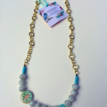 Pastel Jade Beaded Necklace / Floral Beadeork Necklace / Romantic Statement Necklace