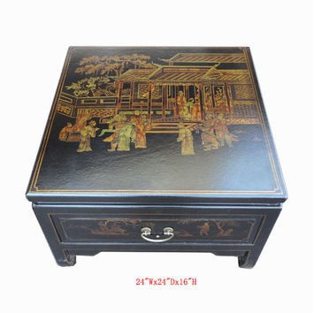 25% OFF SALE Black Square Chinese Gold Paint Leather Coffee Table WK2401E
