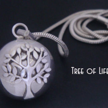 Unique Tree of Life Necklace Harmony Ball with a 925 Sterling Silver 'Tree of Li