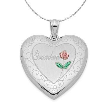 Sterling Silver and Enamel 24mm Grandma Floral Heart Locket Necklace
