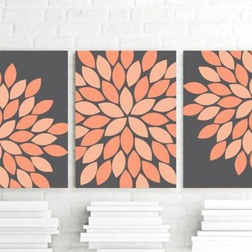 Coral Peach Gray Flower Bedroom Wall Art, Flower Petal Wall Art CANVAS or Prints Charcoal Peach Coral Flower Bathroom Decor, Set of 3 Art