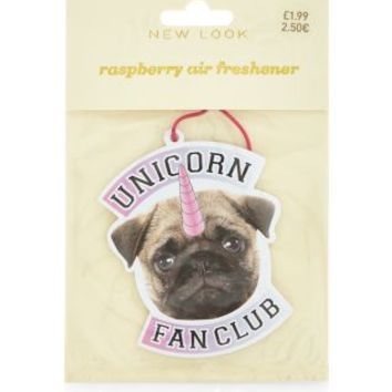 Pink Pug Unicorn Fan Club Raspberry Air Freshener