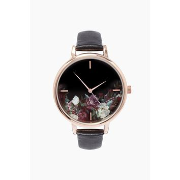 Round Watch W/ Faux Leather Strap - Black/Floral