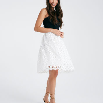 Floral Crochet A-Line Skirt | Wet Seal