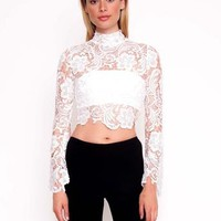 Falling For Florence Lace Top White
