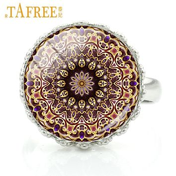 TAFREE  2017 classic zen flower of life rings vintage buddhist mandala art Chakra Sacred Geometry women fashion jewelry H275