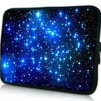 MyGift® 13 inch Endless Universe with Twinkling Blue Stars DOUBLE Sided Print Laptop Carrying Case for Macbook Air / Pro, Acer, Asus, Dell, HP, Sony