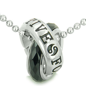 Positive Forever Eternity Double Rings Yin Yang Symbol Simulated Black Onyx Pendant 18 Inch Necklace