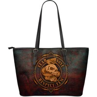 No Fear Leather Tote Bag