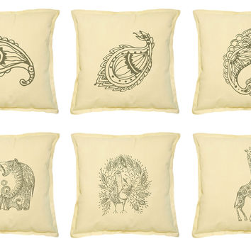 Tribal Doodle Animal Printed Khaki Decorative Pillows Case VPLC_02 Size 18x18