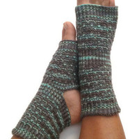Yoga Socks Hand Knit in Turquoise Brown and Grey Pedicure Pilates Dance