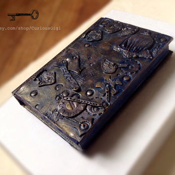 Steampunk OOAK art book cover polymer clay art, art journal , travel journal ,