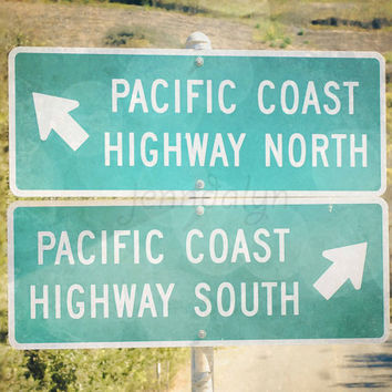 PCH1 - PHOTO, Pacific Coast Highway sign, street signs, california photography, pacific coast, road trip, wanderlust, mint green, aqua