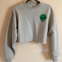 We Come In Peace Cropped Grunge Sweatshirt, Alien Sweatshirt, Grunge Shirt, UFO shirt, Soft Grunge, 1990s Inspired