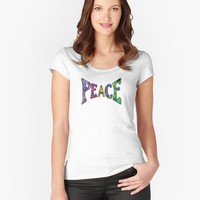 'PEACE ' Women's Fitted Scoop T-Shirt by mlswig